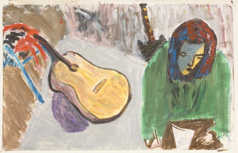 girl, drawing, with guitar